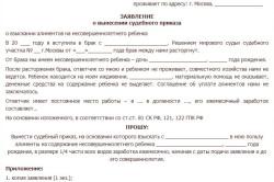 Рисунок 1. Образец заявления о вынесении судебного приказа о взыскании алиментов